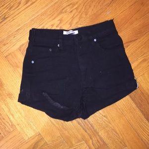 ONE TEASPOON  plain black denim shorts